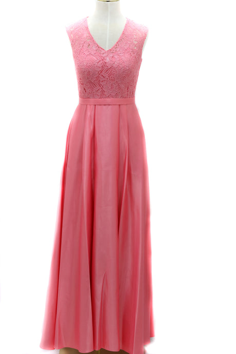 Monica A-Line Lace and Satin Dress
