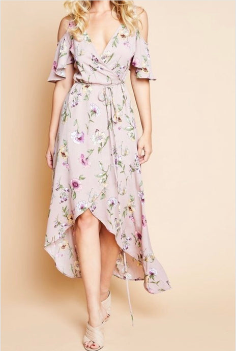 Floral Cold Shoulder Ruffle Dress (Mauve) PRE-ORDER Will Ship Aug 15th