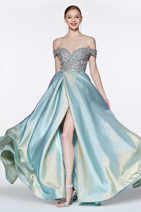 Metallic Aqua Beaded Ball Gown