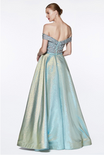 Load image into Gallery viewer, Metallic Aqua Beaded Ball Gown