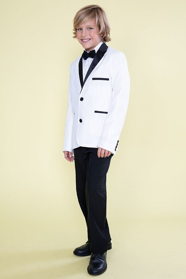 Boy's 4piece White/Black Suit