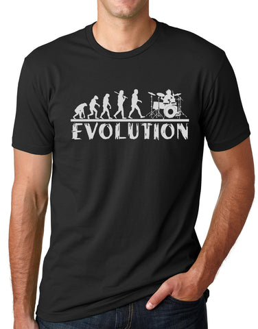 Think Out Loud Apparel Drummer Evolution Funny T-Shirt Musician Drums Humor Tee