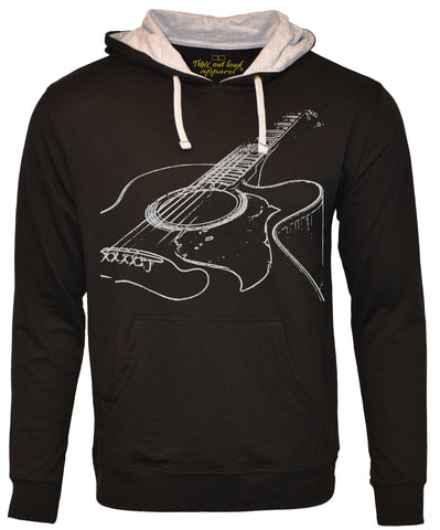 Think Out Loud Apparel Acoustic Guitar French Terry Hoodie Cool Musician Hooded Sweatshirt