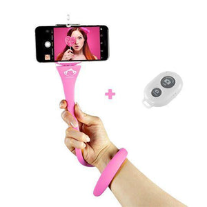 Bâton Selfie Flexible® Technologie ideeSympa.fr Rose
