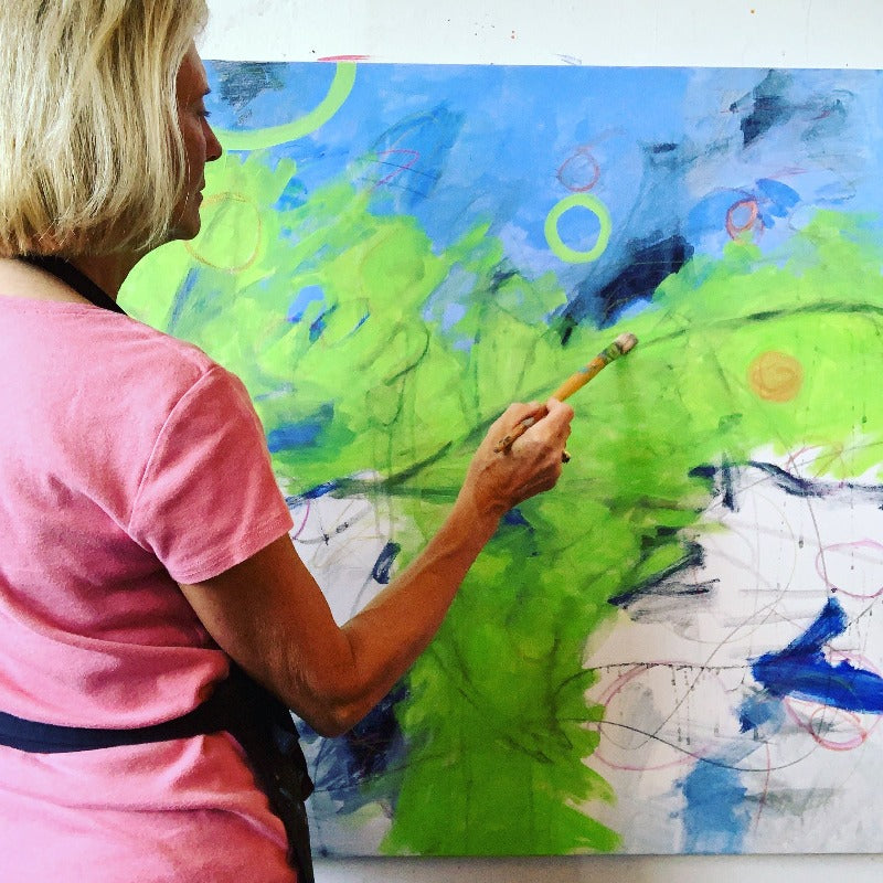 Carol-macconnell-working-on-rising-original-abstract-painting