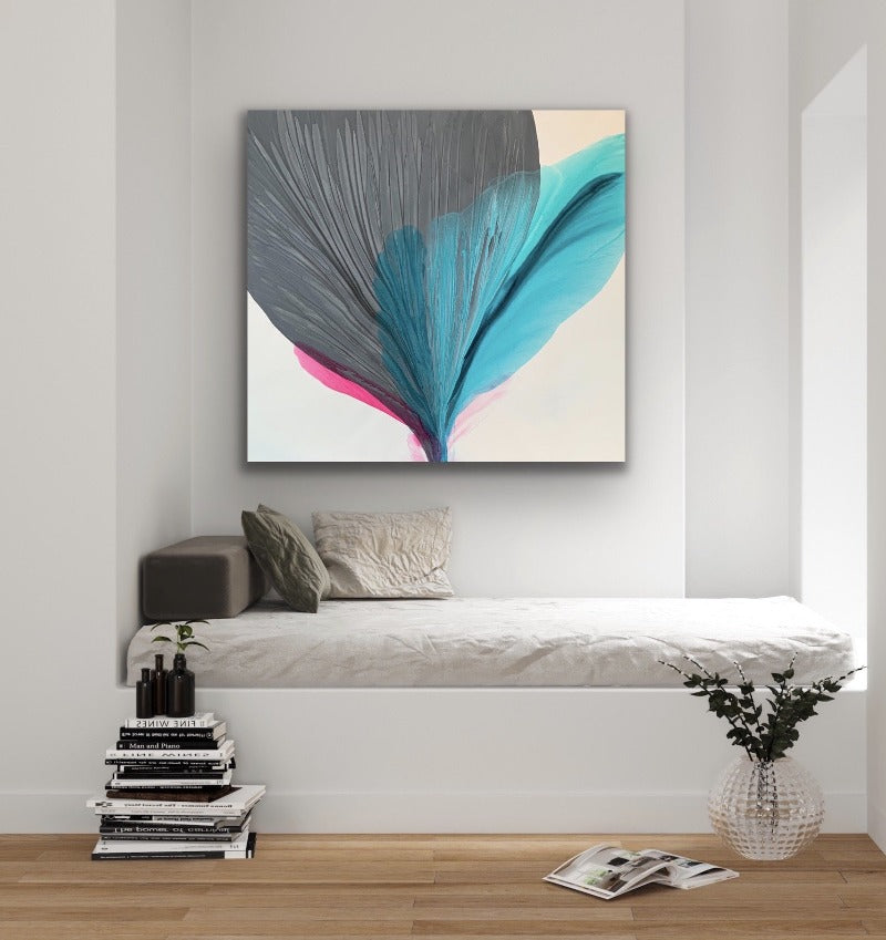 Symphony-is-an-original-grey-teal-turquoise-pink-fluid-acyylic-painting-in-a-room-setting_by-carol-macconnell