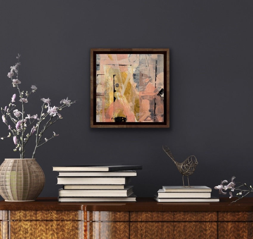 French_cafe_original-abstract-painting-in-pink-and-black-in-a-room-setting_by-carol-macconnell