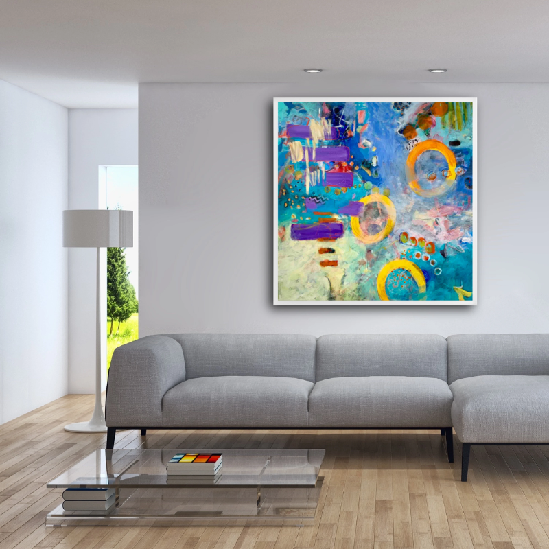 Summer-original-abstract-painting-in-blue-purple-yellow-in-a-room-setting_ by-carol-macconnell