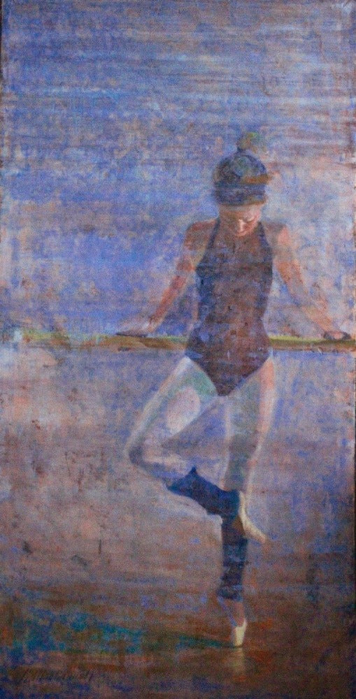 contemporary figurative painting of a ballerina by carol macconnell