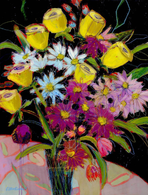 Yellow rose and daisy flower bouquet painting by carol macconnell
