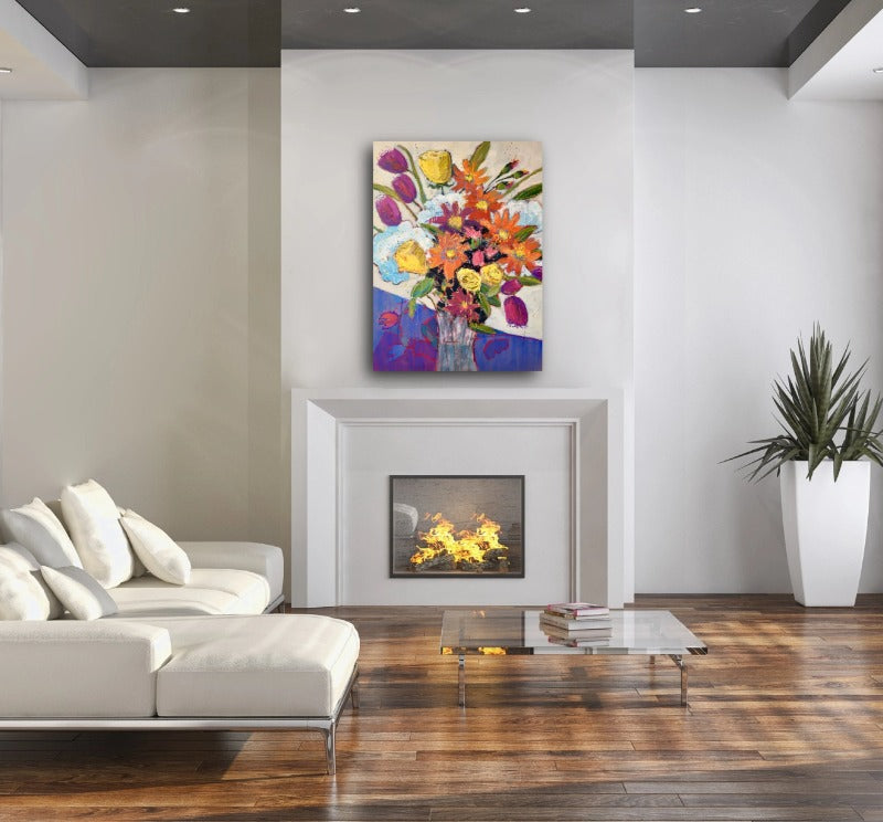 Awesome-bouquet-original-floral-painting_by carol-macconnell_in-a-room-setting