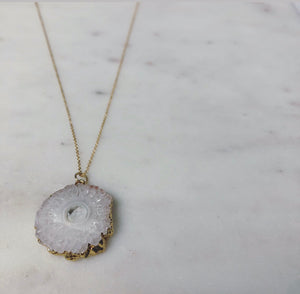 White Quartz Necklace (Gold-Filled)