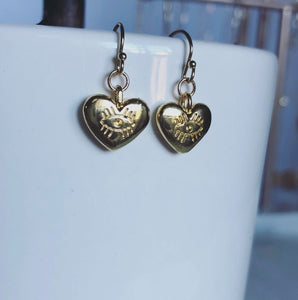 Ariana Heart Eyes Hoop Earrings (Gold-Filled)