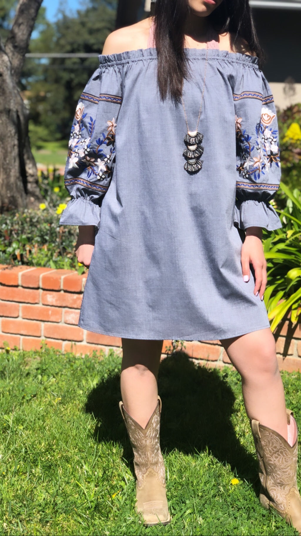 Long Sleeve Floral Denim Dress