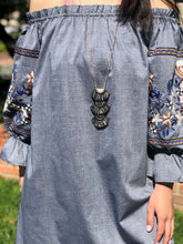 Load image into Gallery viewer, Long Sleeve Floral Denim Dress