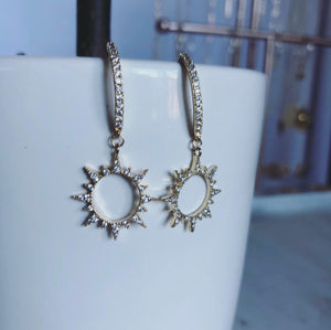 Sunburst CZ Earrings (Gold-Filled)