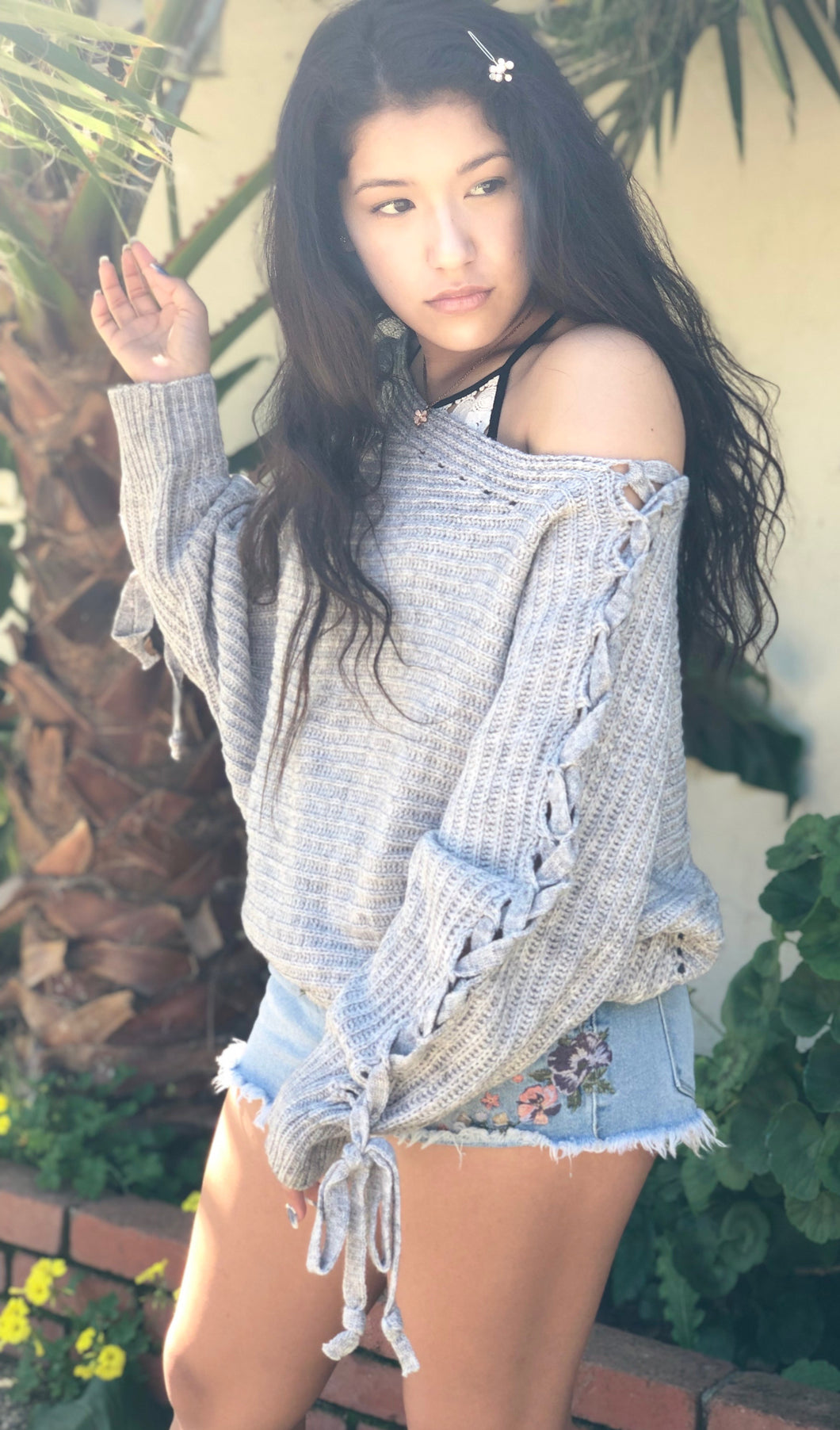 Heather Grey Braided Sweater