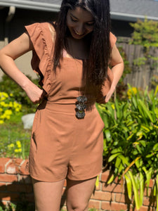 Mocha Romper with Ruffles