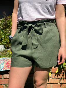 Olive Shorts with Bow