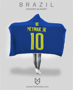 new product 375de 2674e Neymar Junior Brazil Away Jersey 2018 Hooded Blanket - FIFA World Cup