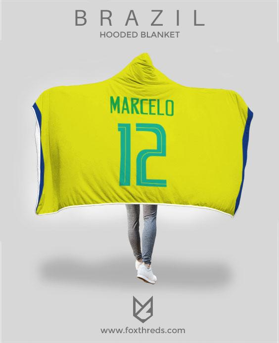 reputable site 8889a 33766 Marcelo Vieira Brazil Home Jersey 2018 Hooded Blanket - FIFA World Cup
