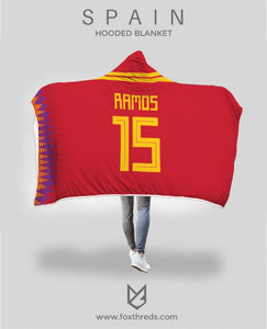 03c07ee05 Ramos Spain Home Jersey 2018 Hooded Blanket - FIFA World Cup ...