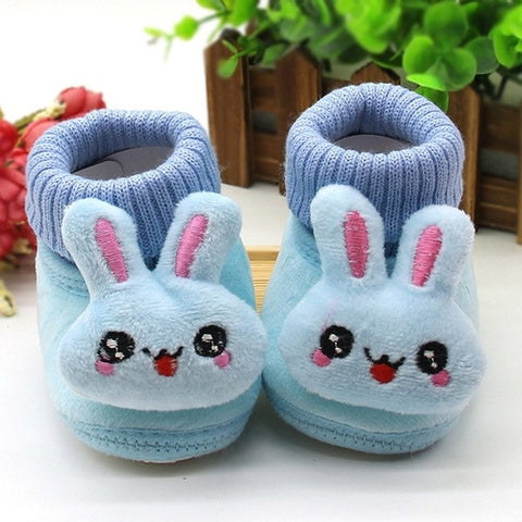 Baby Shoes Rabbit Applique Solid Color Baby