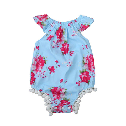 Children's flower print fringed clothing baby