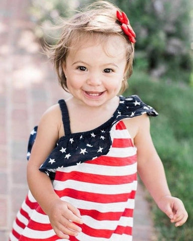 Baby Girls dress fashion Print hot 4th Of July