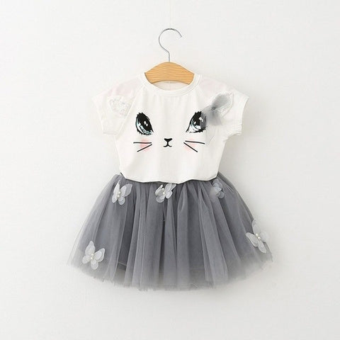 Baby girl cat butterfly short sleeve - lace fluffy