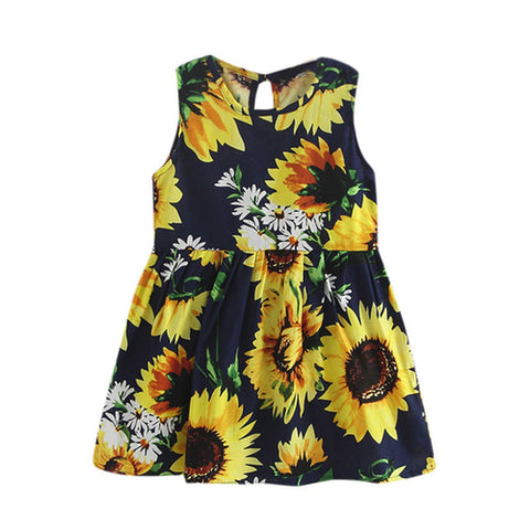 Girls summer dress with bow back flower print