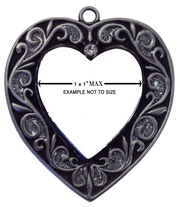 Pewter heart showing print area