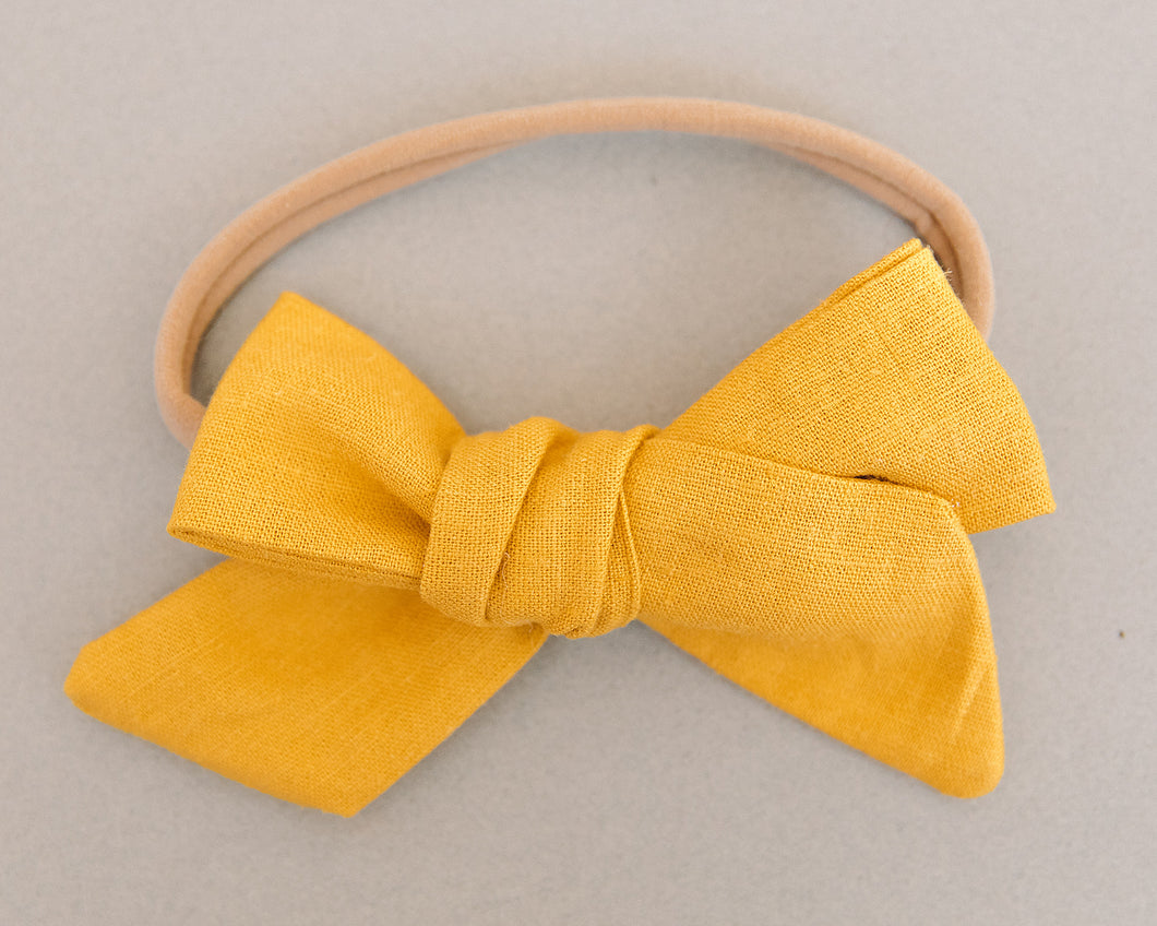 Golden Linen Hand Tied Bow Headband