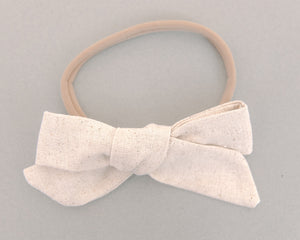 French Vanilla Linen Hand Tied Bow Headband