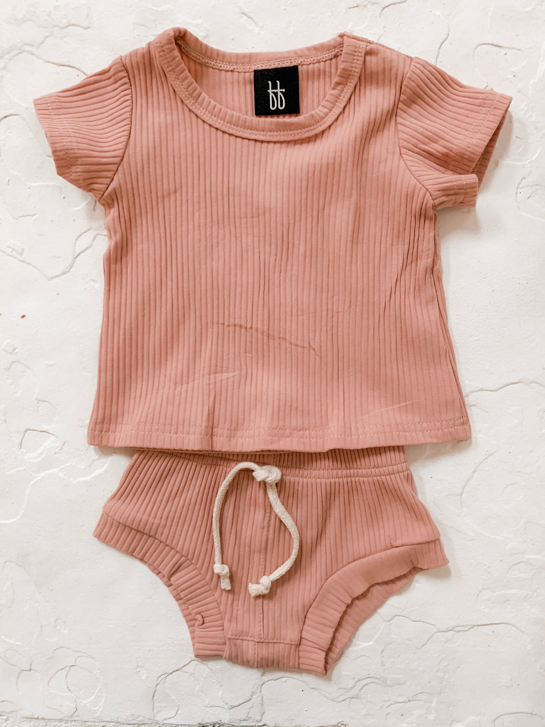 Ribbed Shortie Set - Prickly Pear Pink