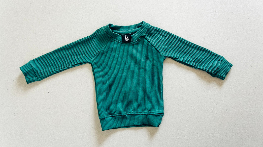 Ribbed Pull Over - Emerald