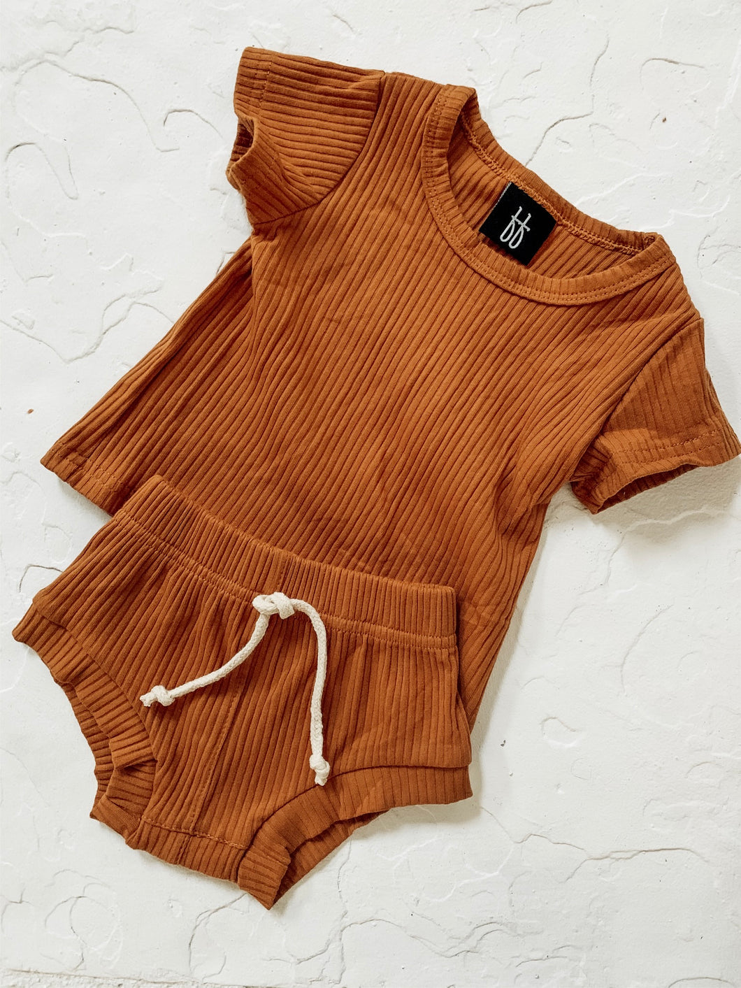 Ribbed Shortie Set - Rust