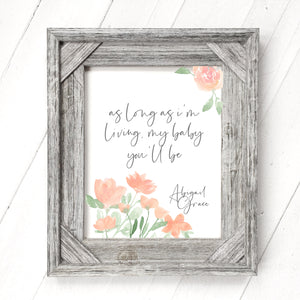 Peach Floral - Customizable Print