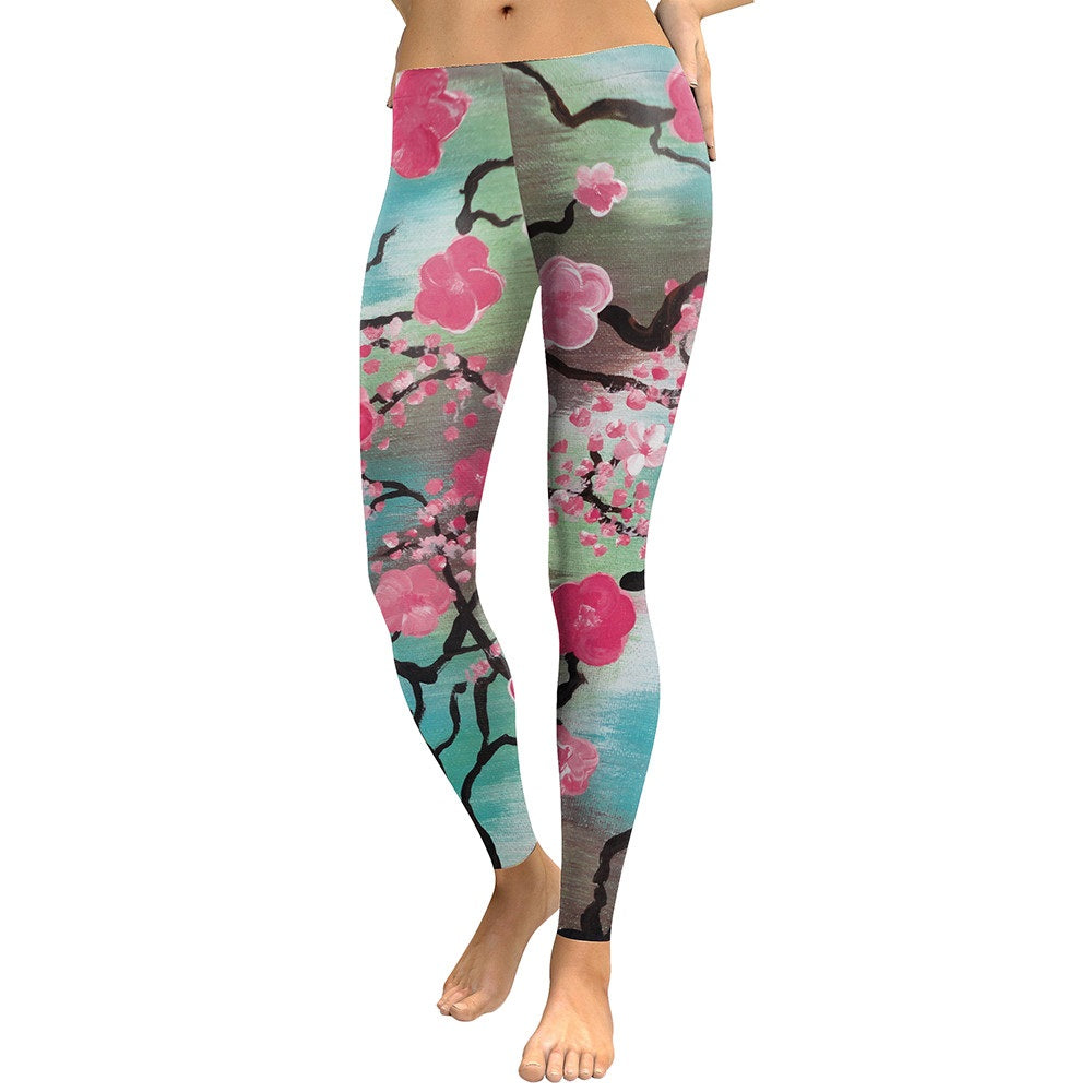Pink Plum Leggings - Blossom Digital Print - Love For Leggings