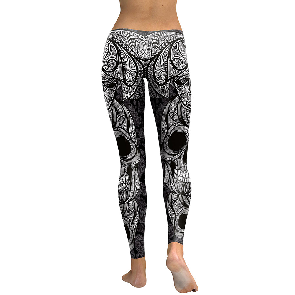 Skull Head - Digital Print Rose Fitness Leggings - Love For Leggings