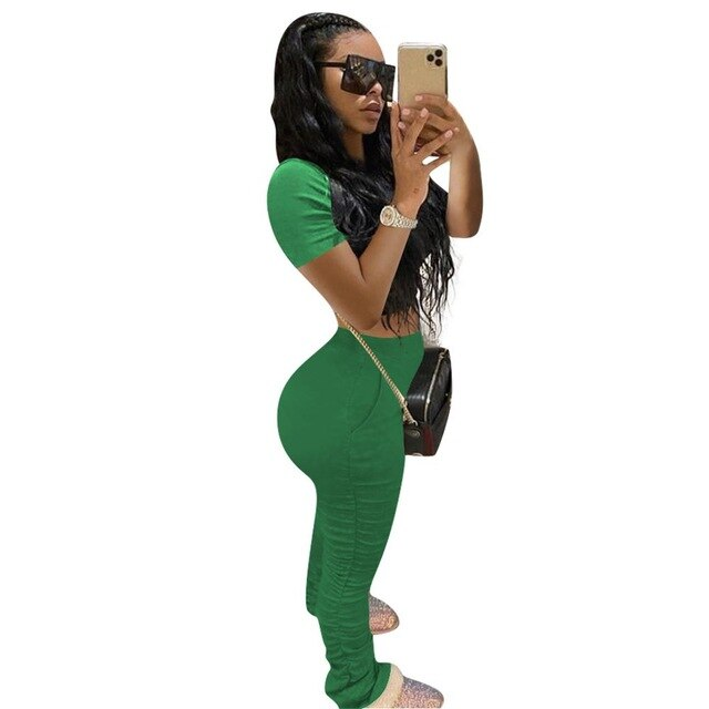Cotton Lounge wear Solid Two Piece Set Summer T Shirt Crop Top with Ruched Stacked Leggings Bodycon Sport Tracksuit Women Outfit