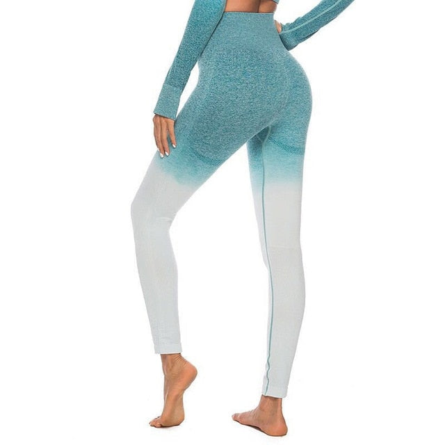NORMOV Women Fitness Seamless Leggings High Waist Hollow Fitness Legging Sporting Leggings Side Stripe Jeggings