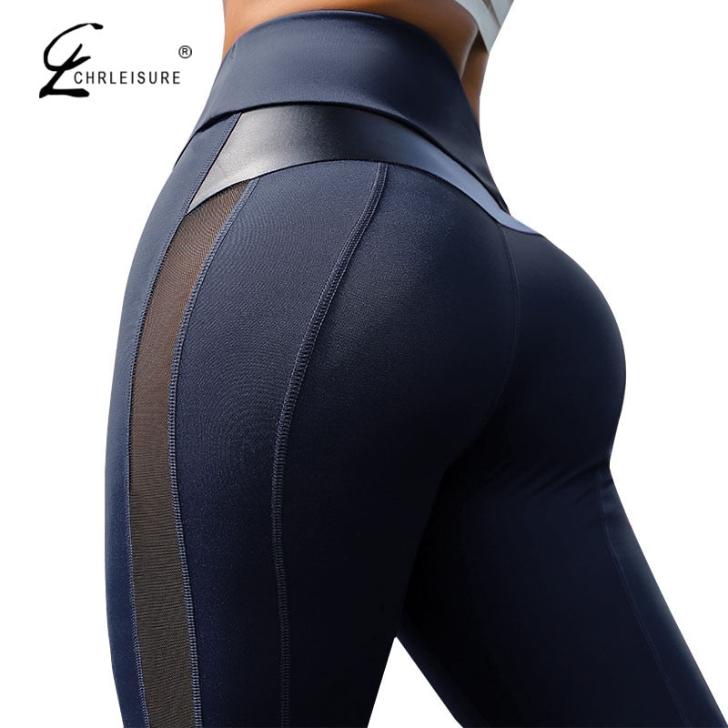 CHRLEISURE High Waist Fitness Leggings Women for Leggings Workout Women Mesh And PU Leather Patchwork Joggings S-XL
