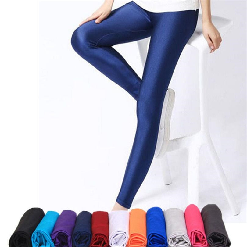 CUHAKCI Women Shiny Pant Leggings Hot Selling Leggings Solid Color Fluorescent Spandex Elasticity Casual Trousers Shinny Legging