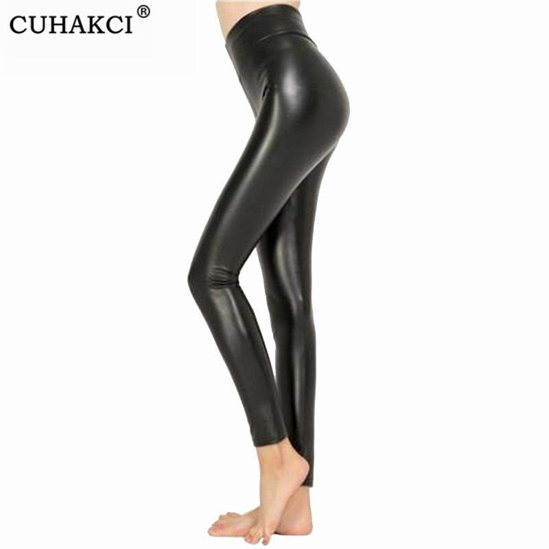 CUHAKCI Legging Free dropshipping Women Hot Sexy Black Wet Look Faux Leather Leggings Slim Shiny Pants Plus size S M L XL XXL