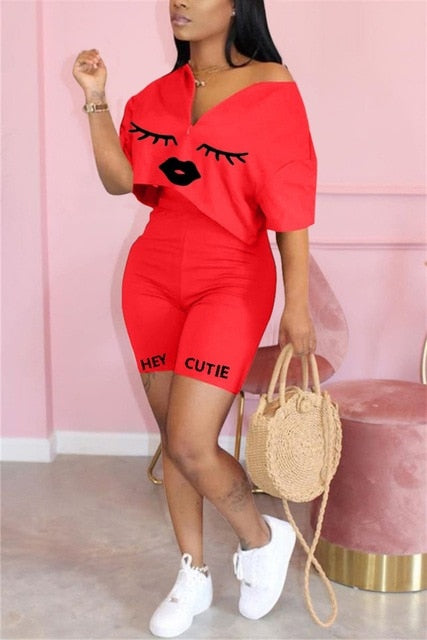 Casual 2 Piece Set Women Tracksuit Summer Outfits Loose Top Biker Shorts Sweat Suits Lounge Wear Two Piece Matching Sets