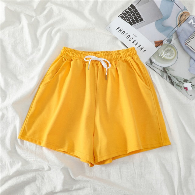 Women Shorts Summer Casual Solid Drawstring shorts high waist loose shorts for girls Soft Cool female short M-2XL