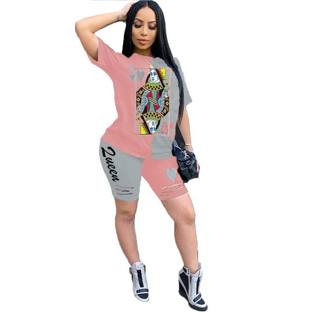 Poker Designer Tracksuit Women Oversize Tshirt Biker Shorts Set 2 Piece Sets Womens Outfits Lounge Wear Ensemble Femme