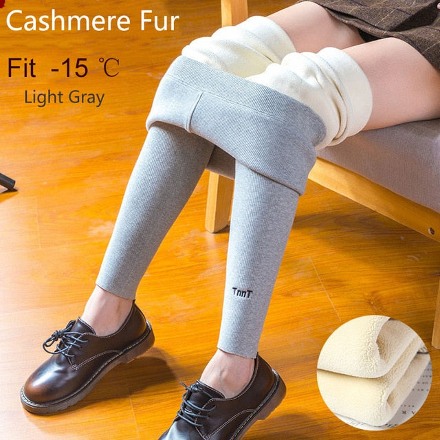 Winter Women Leggings Keep Warm High Waist Legging Winter Fur Pants Women Ankle-length Large Size 2XL velvet Female Pants Women