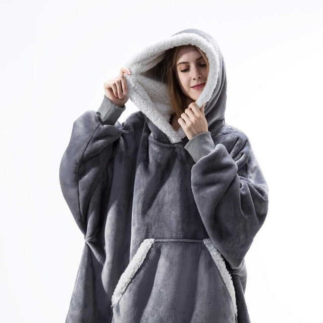 Blanket with Sleeves Women Oversized Hoodie Fleece Warm Hoodies Sweatshirts Giant TV Blanket Women Hoody Robe Casaco Feminino